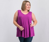 INC Plus Size Asymmetrical-Hem Tank Top, Magenta Flame