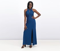 Nightway Petite Lace-Trim Illusion Halter Dress, Peacock