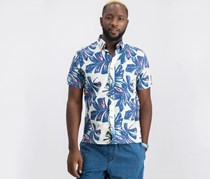 Tommy Hilfiger Mens Tropical Button-Down Shirt, Blue Combo