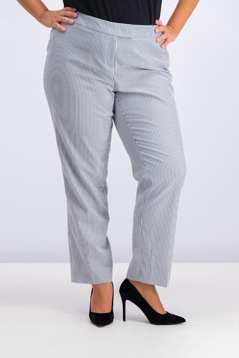 Plus Size Straight-Leg Ankle Pants, Optic White/Blue