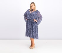 Plus Size Printed Fit & Flare Dress, Eclipse/White