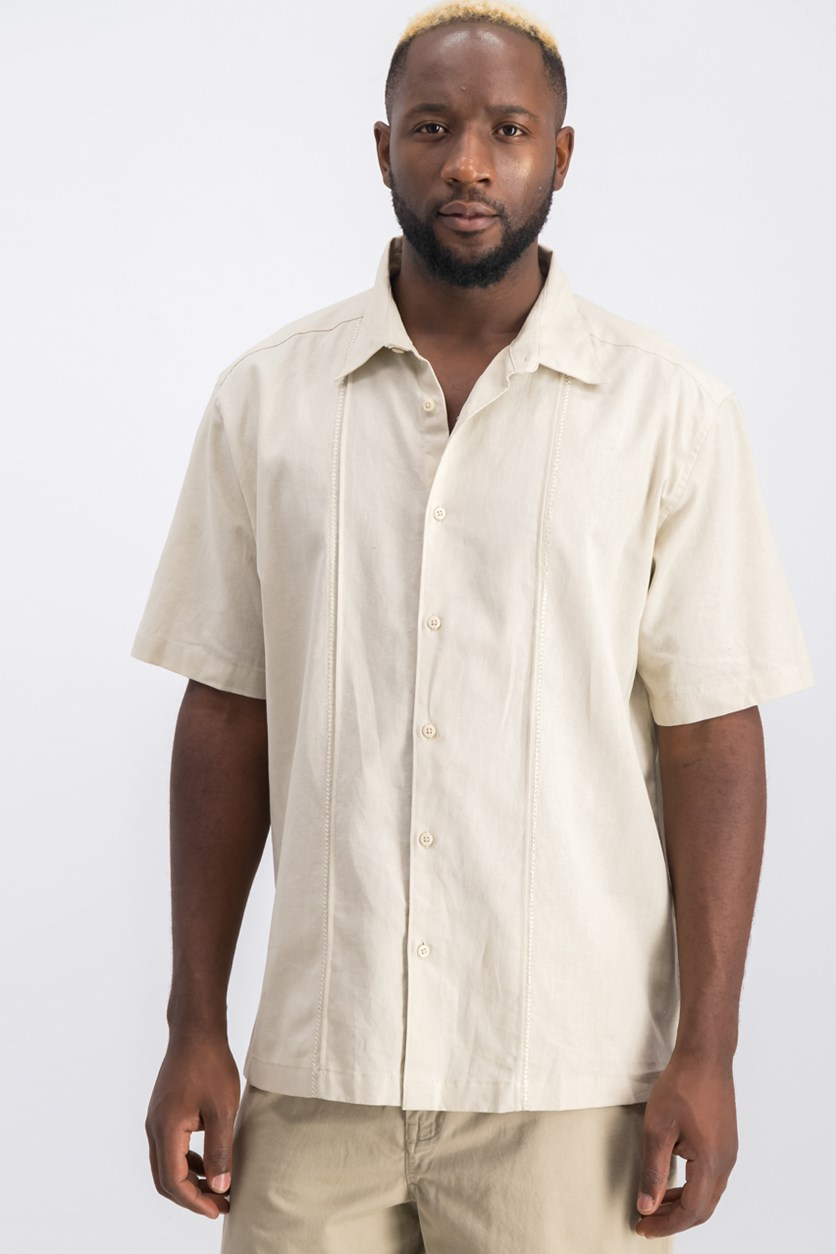 Men's Embroidered Shirt, Light Beige
