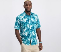 Cubavera Men's Short Sleeve Casual Shirt, Dark Teal