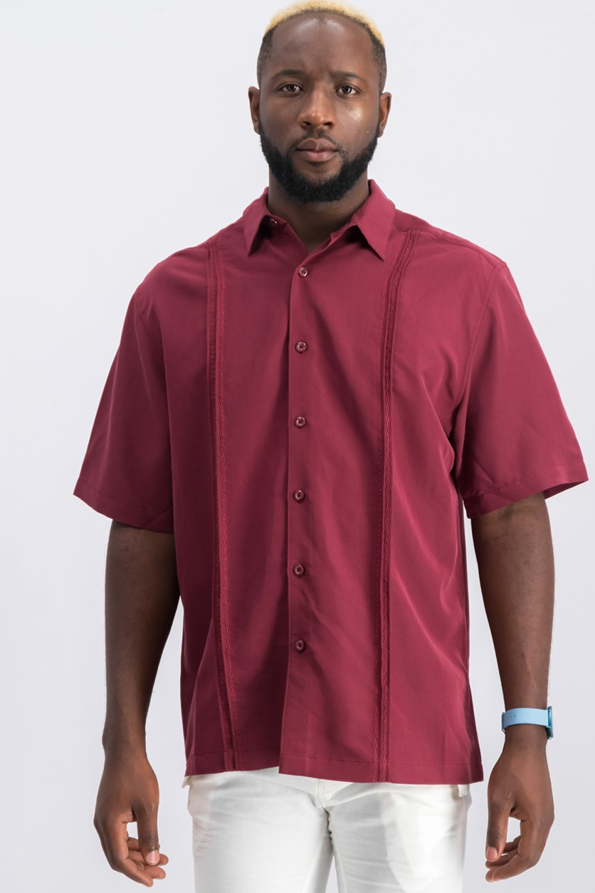 Men Short Sleeve Casual Shirt, Maroon