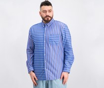 Men's Whedon Custom-Fit Pieced Stripe Pocket Shirt, Blue Combo