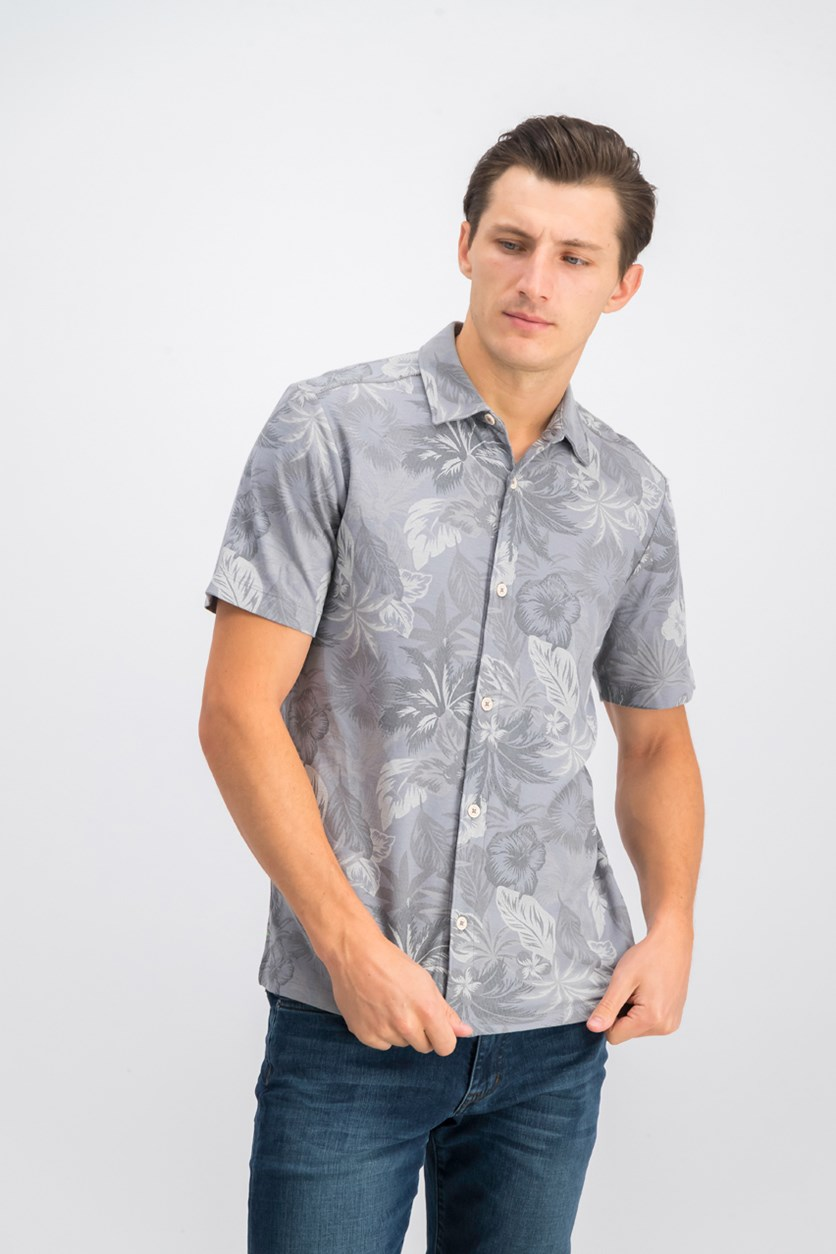 Men's Short Sleeve Tropical flowers Camp Polo Short, Gray
