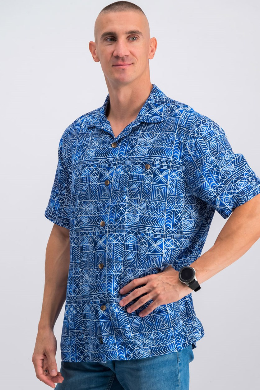 Men's Tropical Geo-Print Silk Shirt, Monaco Blue