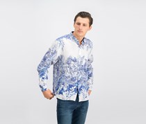 Tommy Bahama Men's Mariachi Mirage Printed Linen Shirt, Blue/White