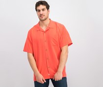 Mens Weekend Tropics Silk Shirt, Bright Coral Orange
