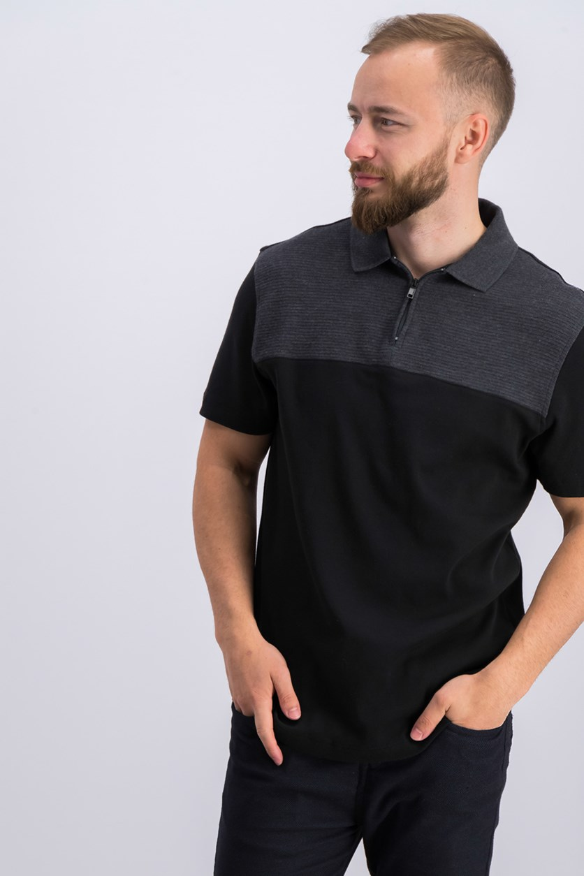 Men's Textured Colorblocked Polo, Deep Black