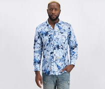 INC Mens Floral Button Up Shirt, Blue Combo