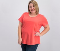 Charter Club Plus Size Cotton Top, Peony Coral