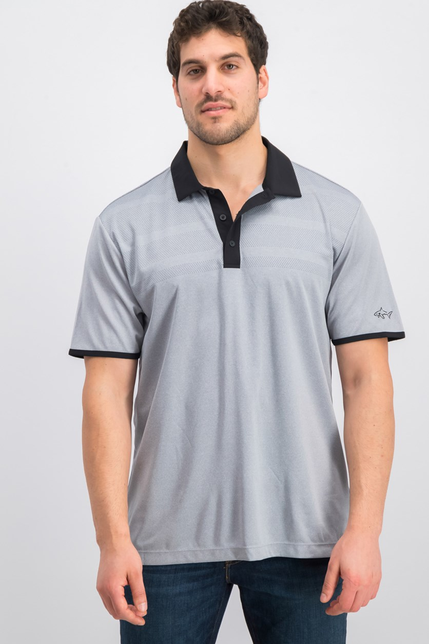 Men's Engineered-Stripe Performance Polo, Silver