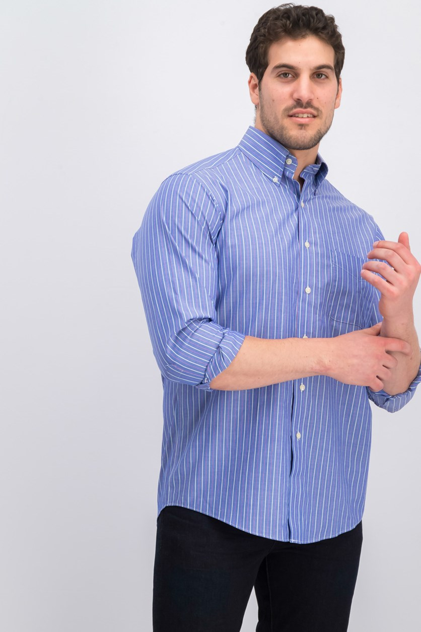 Men's Classic/Regular Fit Stretch Fine Double Stripe Dress Shirt, Blue/Berry