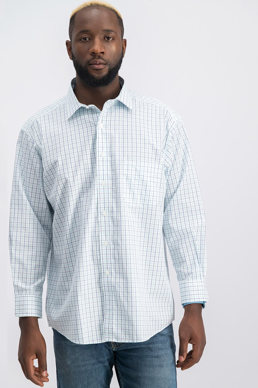Men's Classic/Regular-Fit Plaid Dress Shirt, White/Turq