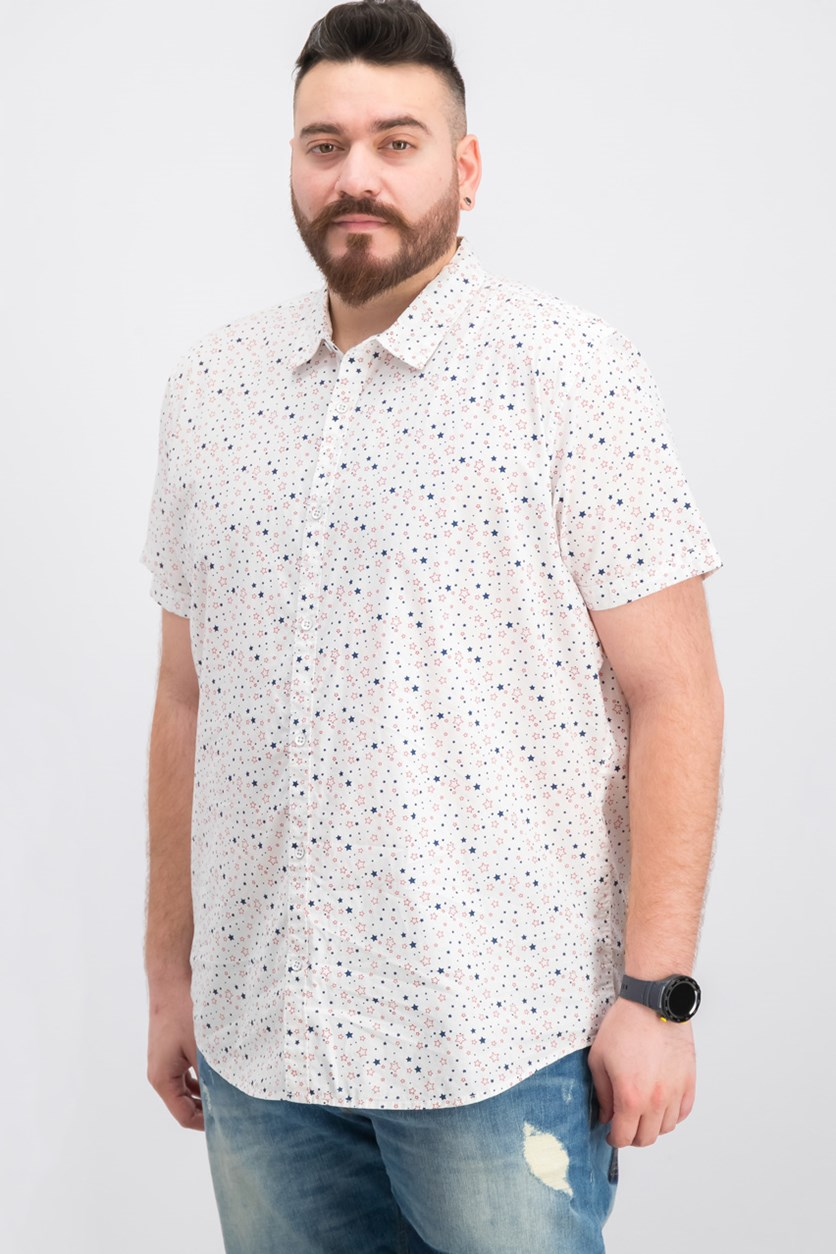Mens Printed Casual Shirt, White Pure