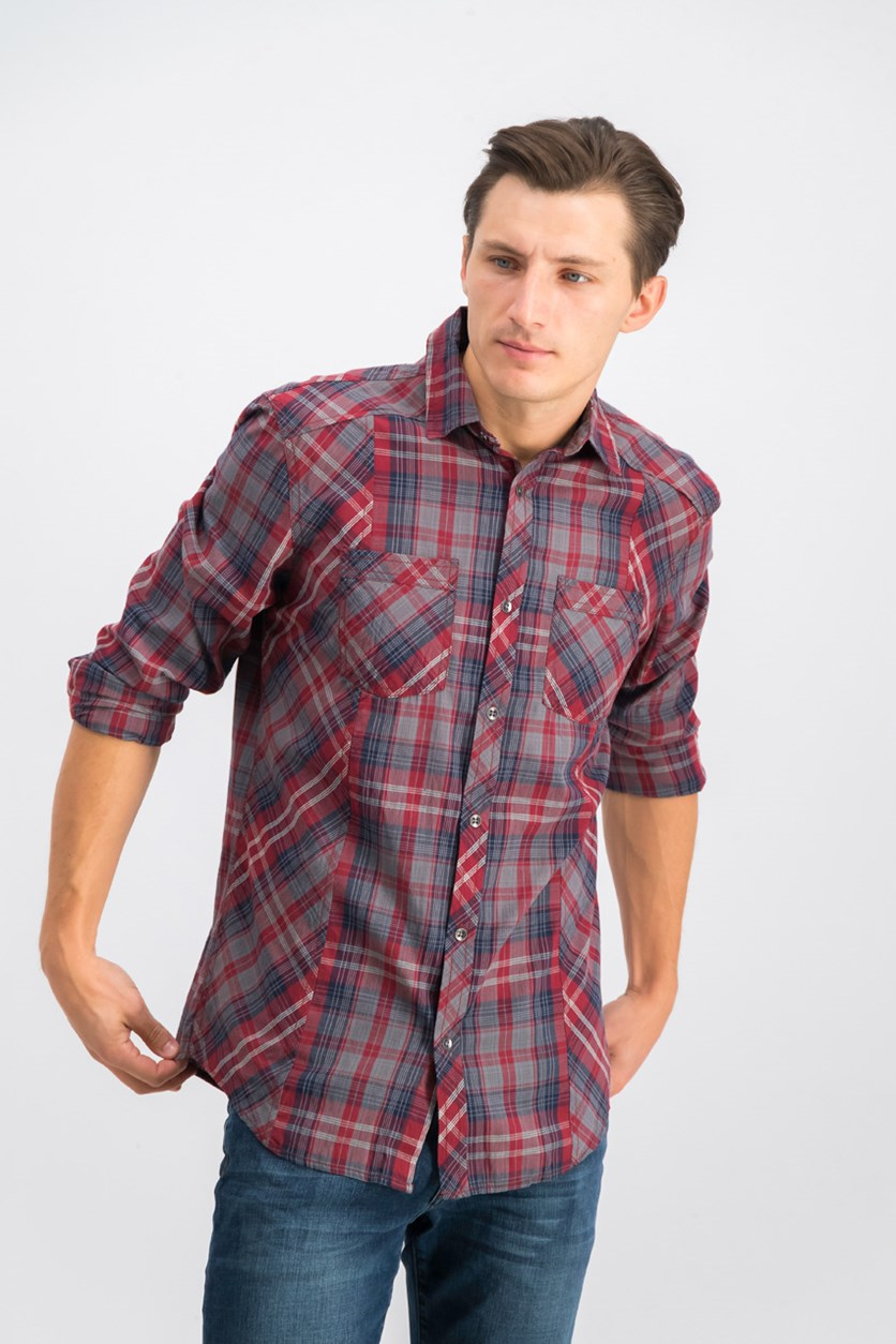 International Concepts Mens Markallen Plaid Shirt, Chinese Apple
