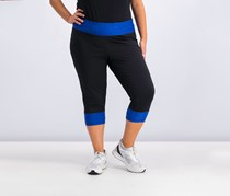 Plus Size Colorblocked Cropped Leggings, Bright Blue