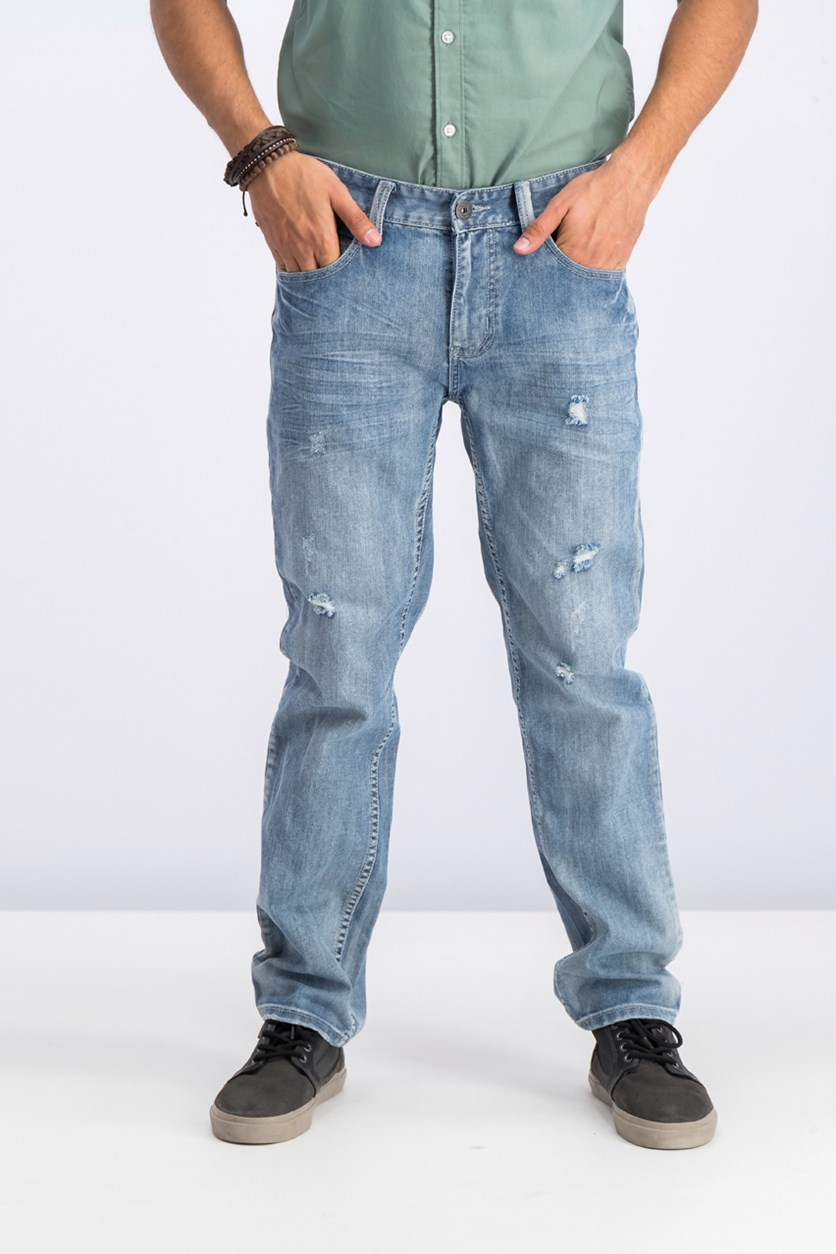 Men's Slim Straight Ripped Jeans, Light Wash