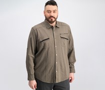 INC Mens Cotton Utility Casual Shirt, Olive