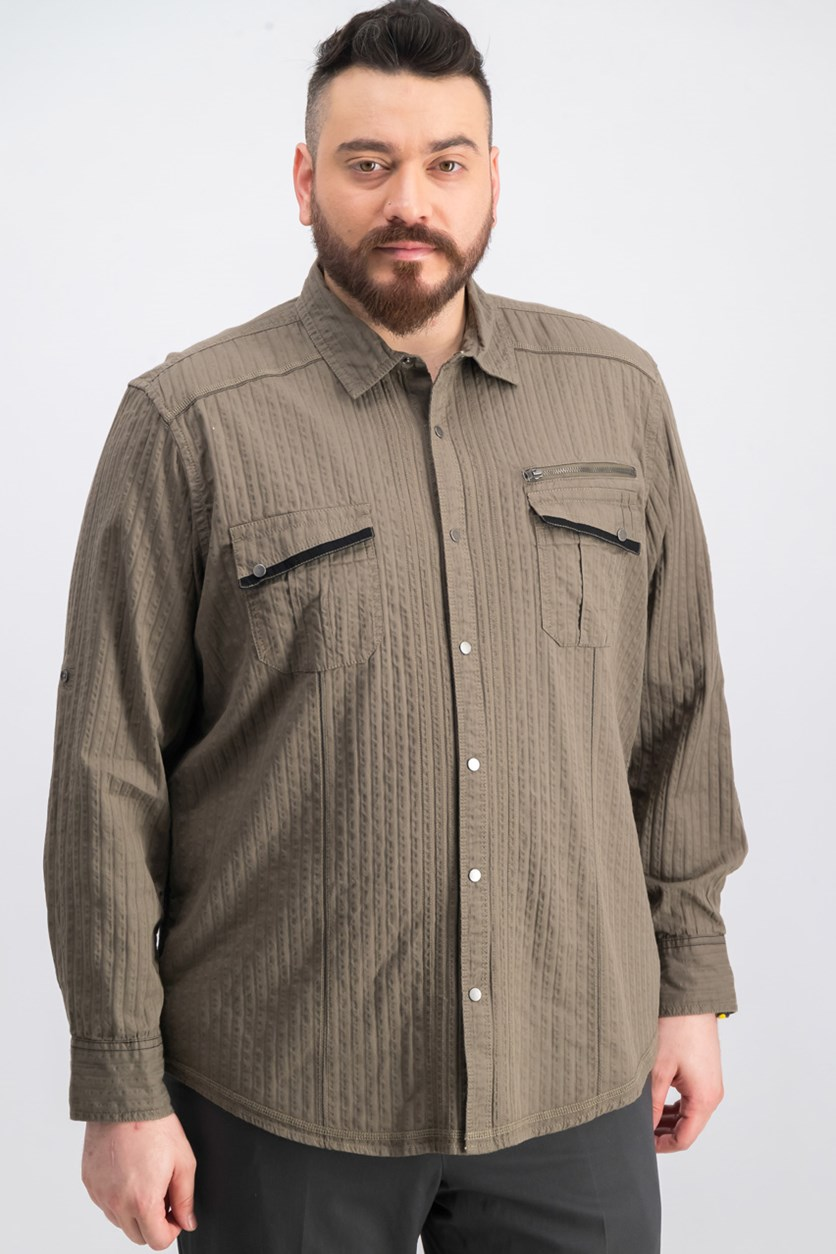 Mens Cotton Utility Casual Shirt, Olive