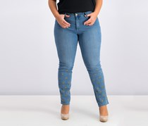 Lexington Embroidered Straight-Leg Jeans, Pasadena Wash