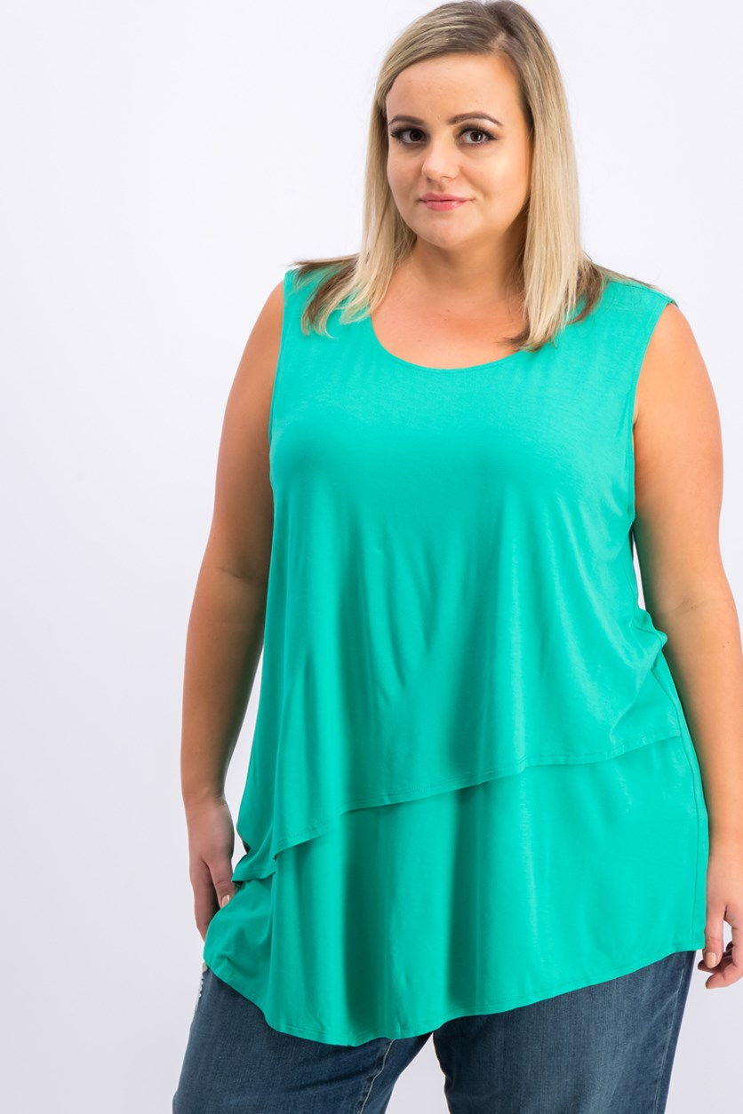 Plus Size Tiered Asymmetrical-Hem Top, Canary Green