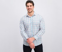 Men's Slim-Fit Stretch Easy-Care Check Dress Shirt, White/Pink/Teal