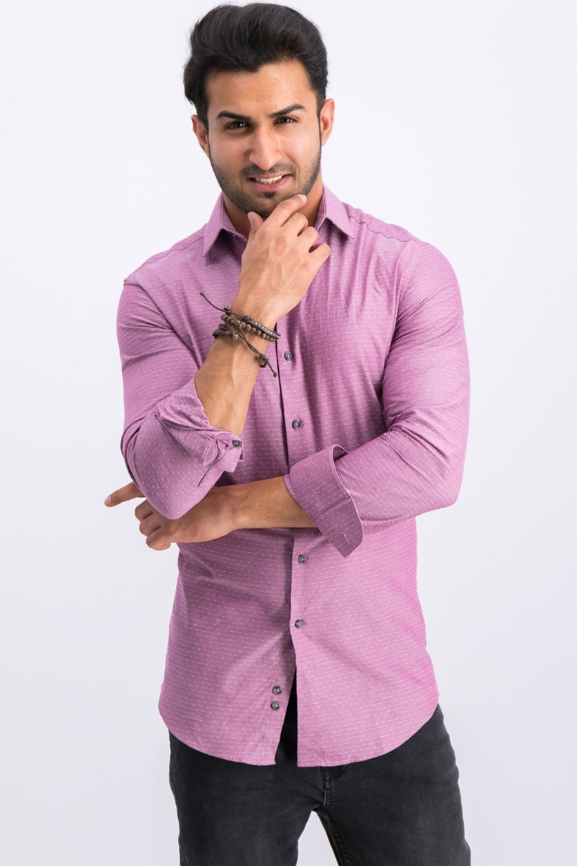 Men's Slim-Fit Stretch Dot Dress Shirt, Pink/Purple