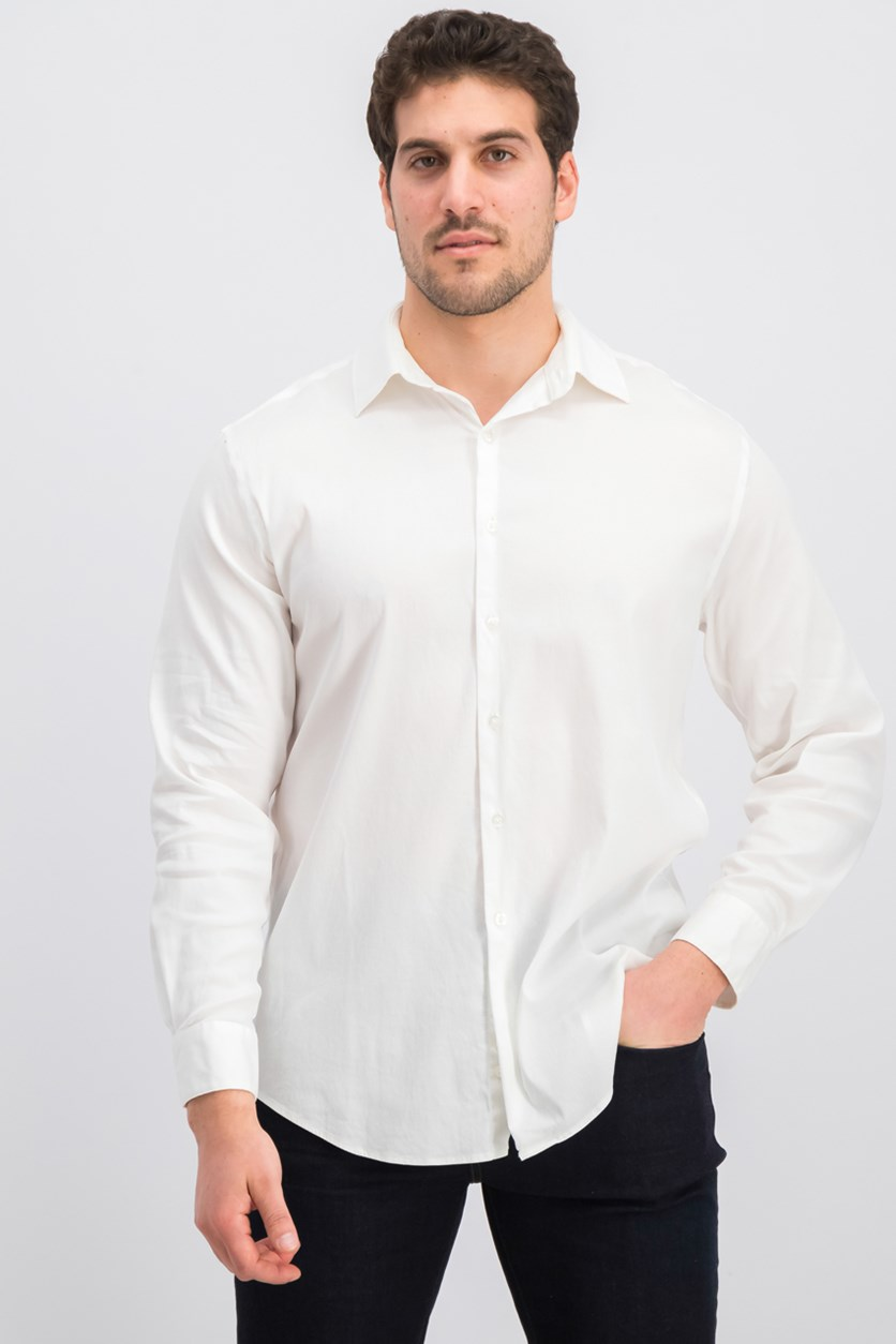 Men's Athletic Fit Performance Stretch Step Twill Textured Dress Shirt, Off White