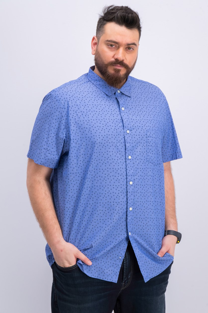 Men's Chambray Geometric Shirt, Lazulite Chambray