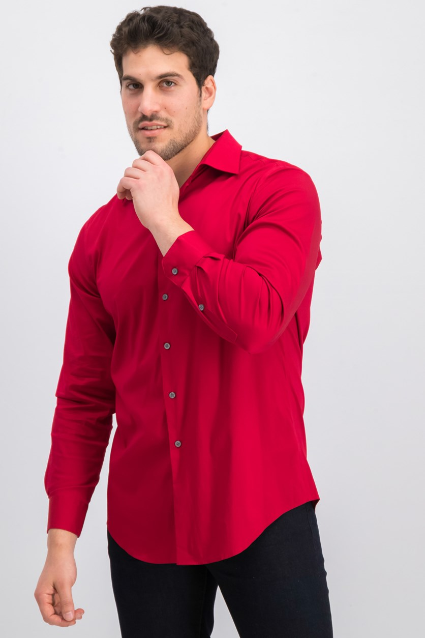 Men's Slim-Fit Performance Stretch Easy-Care Solid Dress Shirt, Red