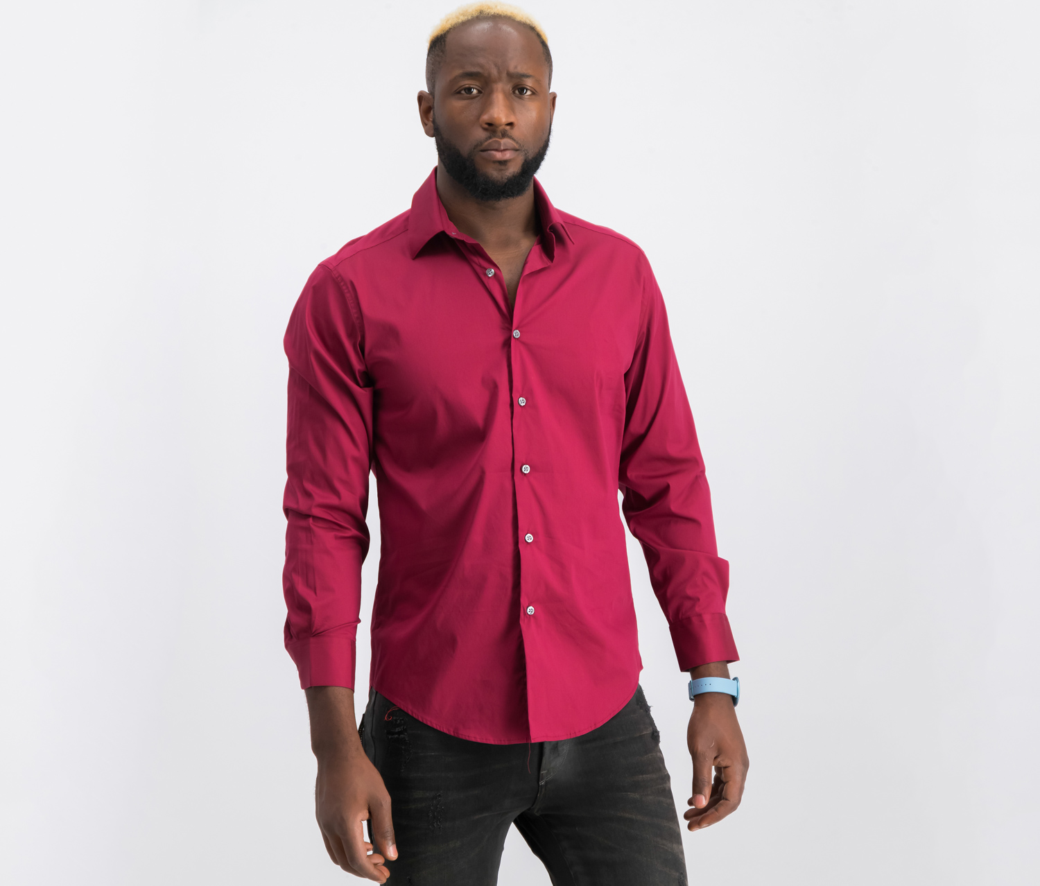 Men's Solid Athletic Fit Dress Shirt, Ruby