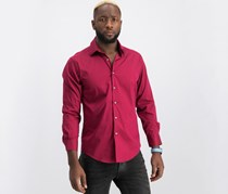 Alfani Men's Solid Athletic Fit Dress Shirt, Ruby