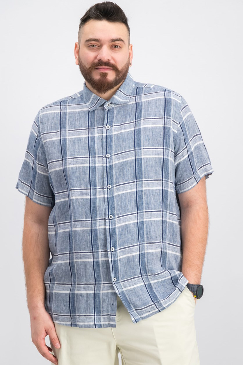 Men's Linen Plaid Shirt, Blue/Navy Combo