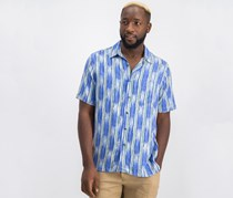 Tasso Elba Mens Ikat Striped Shirt, Blue Combo