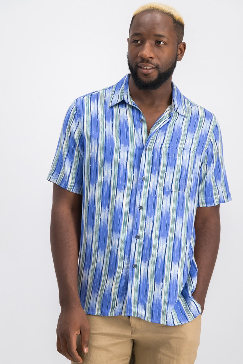 Mens Ikat Striped Shirt, Blue Combo