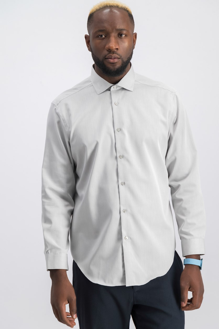Mens Slim-Fit Dress Shirt, Smoke