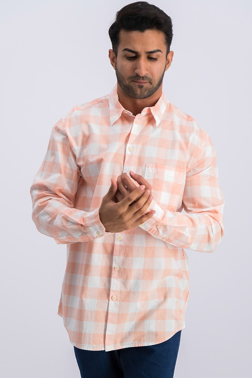 Men's Buffalo Plaid Shirt, White/Peach