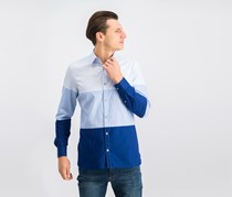 Calvin Klein Mens Colorblocked Shirt, Blue Depths