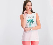 Freeze 24-7 Juniors' Sequined Palm Tree Graphic Tank Top, White