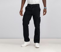 Mens Survivor Belted Cargo Pants, Black