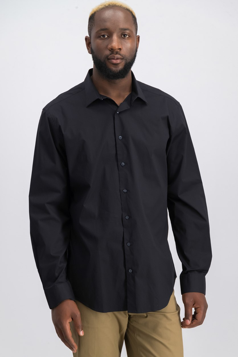 Spectrum Mens Stretch Slim-Fit Shirt, Black
