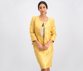 Shimmer Four-button Skirt Suit, Gold
