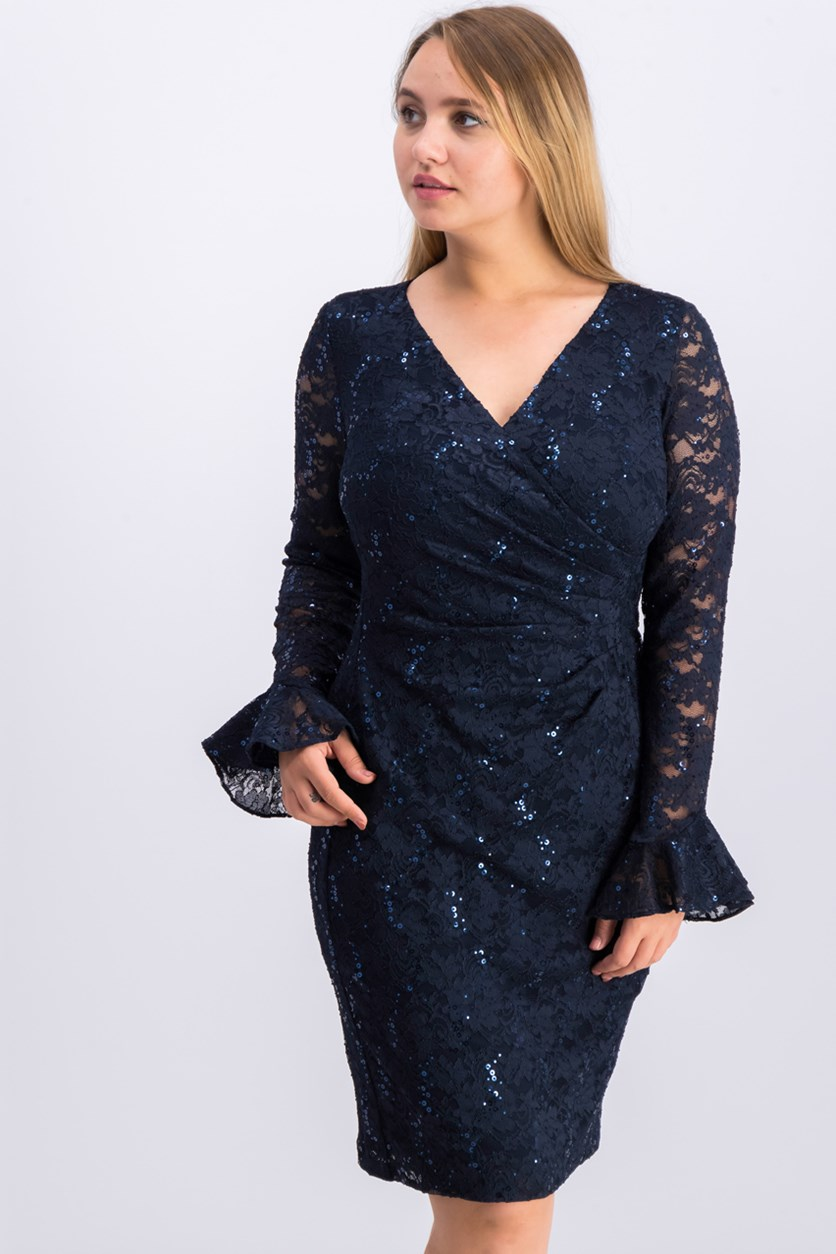 Sequin Floral-Lace Sheath Dress, Navy