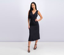 Women's V-Neck Sleeveless Dress, Navy