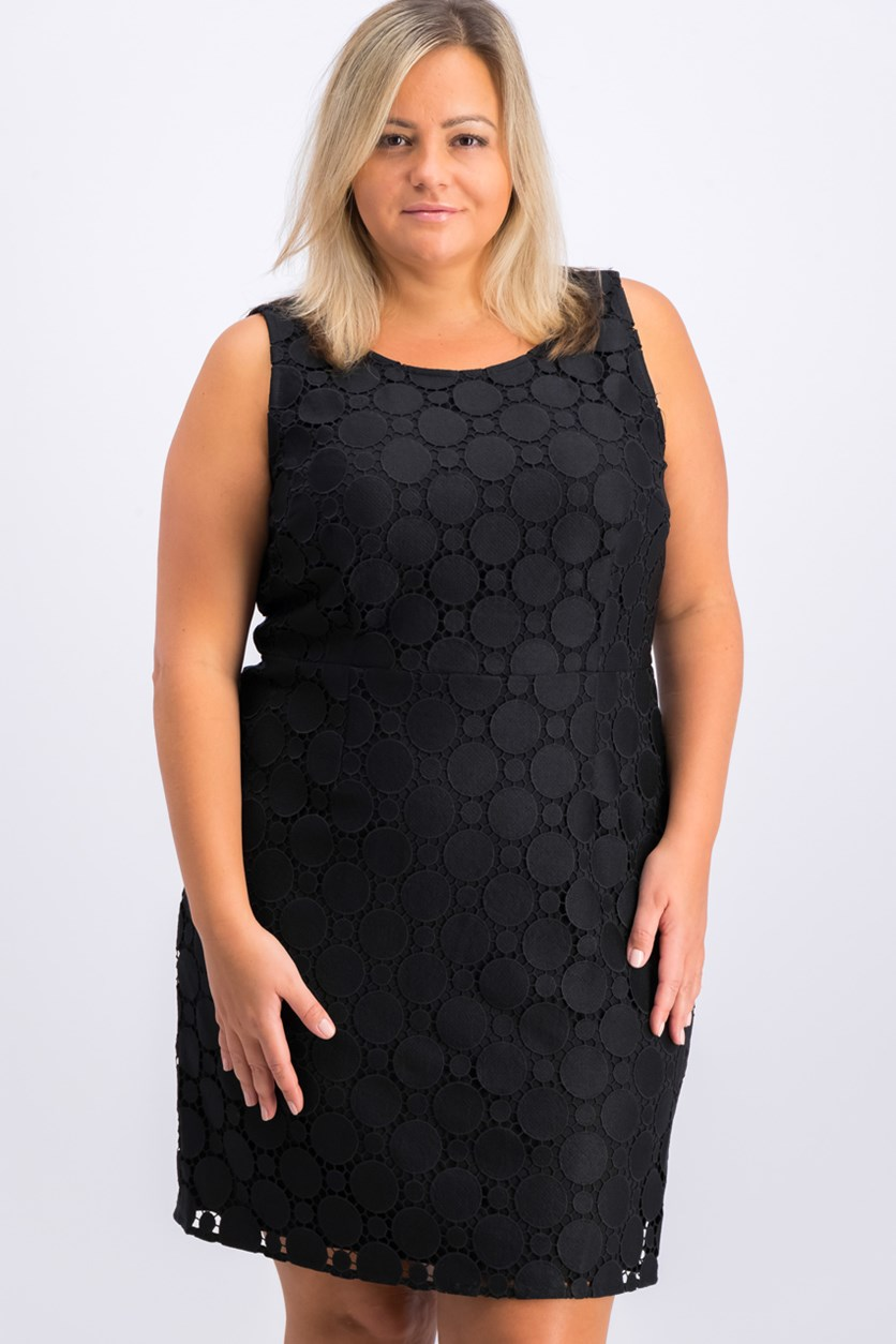 Circle Lace Sheath Dress, Black