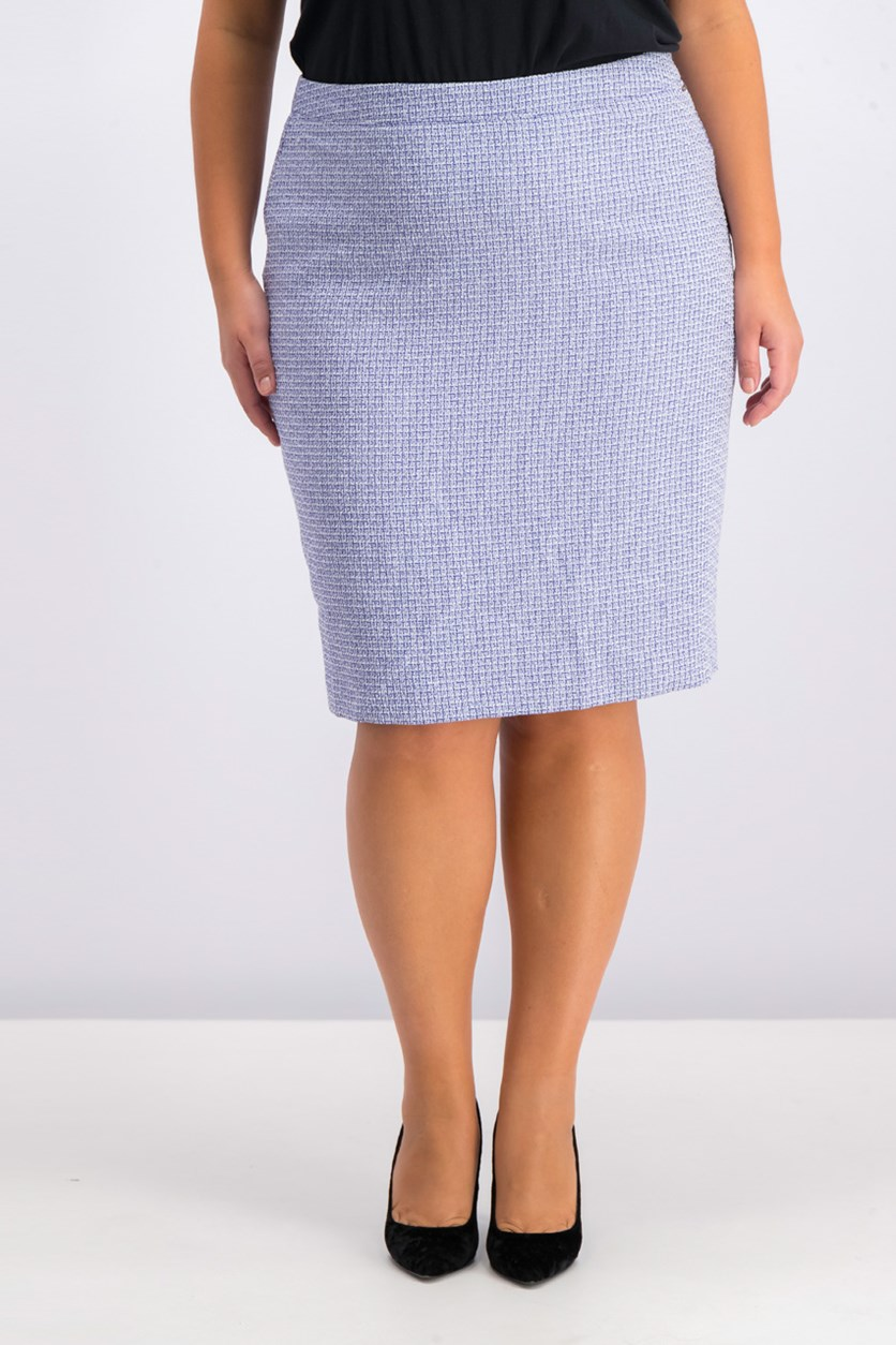 Tweed Pencil Skirt, Blue Combo