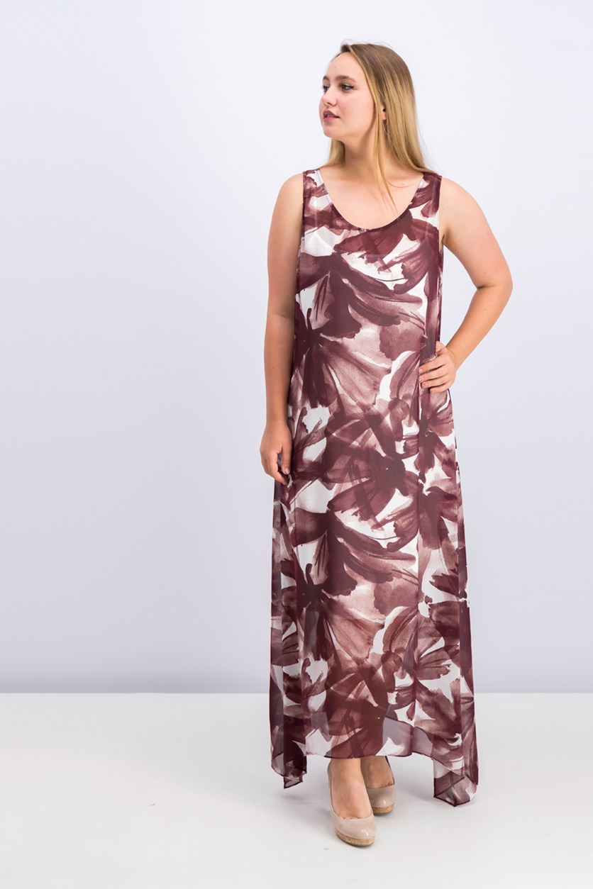 Women Allover Print Maxi Dress, Maroon
