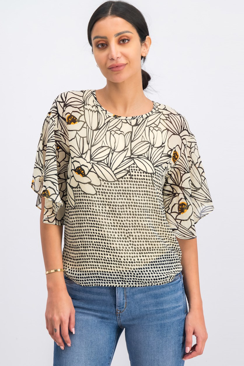 Newyork Allover Printed Top, Yellow/Black